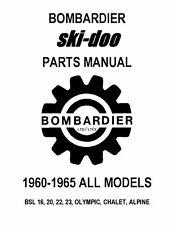 Bombardier Ski-Doo parts manual 1962 BSL 16, 20, 22, 23, OLYMPIC, CHALET, ALPINE