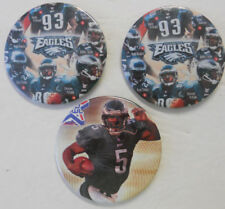Lot Of 3 Philadelphia Eagles Pins Buttons McNabb, Douglas, Staley, Dawkins, More