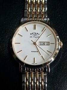 Gent's Quartz S/Steel & G/Plated Rotary Les Originales Windsor Day/Date GB90154