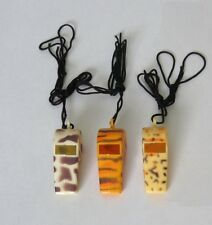 12 Wild Animal Print Plastic Pealess Whistles w/ Lanyard Zoo Party Bag Favor