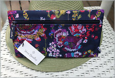 Vera Bradley Lighten Up**MIDNIGHT WILDFLOWERS**Pencil Pouch Zip Case / ClutchBag