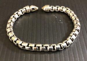 David Yurman 925 Sterling Silver HEAVY Box Chain Link Bracelet 8.25 Inch Unisex