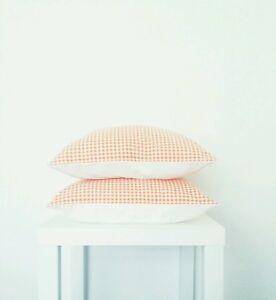 Orange Gingham Print Cushion Cover - Style My Pad