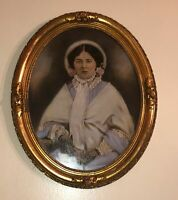 Antique Victorian Portrait Southern Lady Painting Gold Gilt Carved Frame Watercl