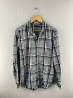 Sportscraft Mens Grey Black Check Long Sleeve Pockets Button Up Shirt Size Small
