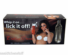 """50  Erotica """"Whip on...""""  8g Whipped Cream Chargers N   1 box of 50 XXX"""