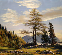 Excellent Oil painting autumn landscape with pine tree free shipping cost