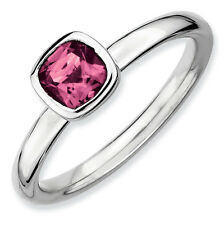 Sterling Silver Stackable Ring 1 Large Cushion Cut Pink Tourmaline stone QSK455