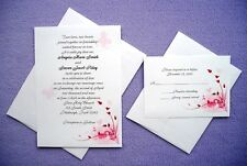 100 Personalized Custom Pink Butterfly Spring Bridal Wedding Invitations Set