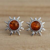 Cognac Baltic Amber 925 Sterling Silver Sun  Stud Earrings Jewellery