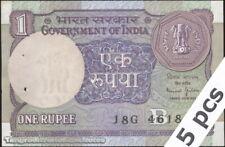 TWN - INDIA 78Ae - 1 Rupee 1990 AU/UNC Inset letter B - 18G pinholes DEALERS x 5