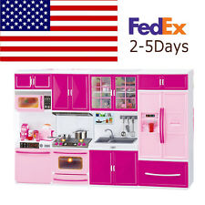 USA Mini Kitchen Pretend Play Cooking Set Cabinet Stove Toy Gifts For Baby Child