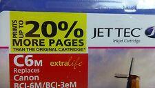 JET TEC MAGENTA 17 ml COMPATIBLE INKJET CARTRIDGE C6M for CANON BCI-6M/BCI-3eM