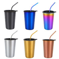 500ML Stainless Steel Beer Cups Travel Mug Coffee Mug With Drinking Straw HOT!