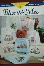 """SCHEMI  PUNTO CROCE """"BLESS THIS MESS"""" CATHY LIVINGSTON JUST CROSS STITCH BAMBINI"""