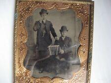 1/6 Tintype 2 Men, One w/Harmonica & Other w/Accordian Mat, Glass & Frame Vg