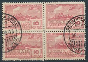 [5297] Uruguay 1939-44 airmail stamps VF used perf 11 bloc of 4 val $325