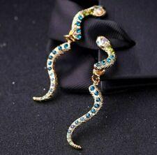 Betsey Johnson Gold Alloy Snake Drop Earrings, New