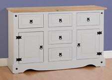 CORONA GREY AND DISTRESSED WAXED PINE 2 DOOR 5 DRAWER SIDEBOARD CHEST