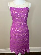 NWT Gianni Bini Sz 2 Lilac Nude Floral Lace Overlay Summer Wedding CocktailDress