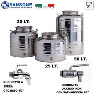 FUSTO BIDONE OLIO SANSONE 25 LT. AGGRAFFATO ACCIAIO INOX CON PREDISPOSIZIONE