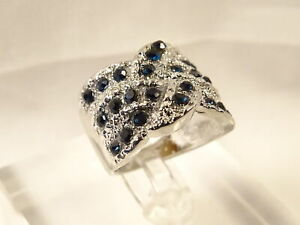 Beautiful Wide Band Braided 25 Stone Blue Sapphire Silver Cocktail Ring Sz 7.5