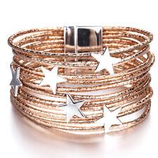 New Women 5 Stars Multi-layers Genuine Leather Charm Cuff Bracelet Jewelry Gifts