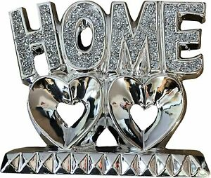 Silver Crushed Diamond Home Sign on Double Heart Shape Sparking Diamond Ornament