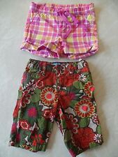 2 pair girls SHORTS LOT the children's place BERMUDA flowers pink plaid SIZE 4/5