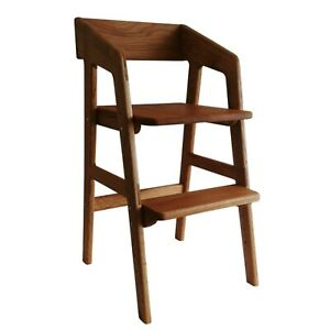 Wooden Baby Highchair Feed Kids High Chair Feeding height adjustable stool Oak