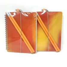 Lot Of 2 Journal Spiral Bound Notebooks Gift Set Holographic Cover Pencil New