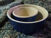 Vintage Two Bowl Set Oxford Blue Stoneware Wonderful! Marked!