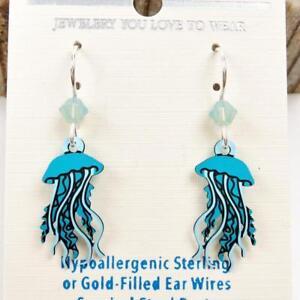 Sienna Sky Earrings Sterling Silver Hook Blue Jellyfish Handmade US Cute! 2029
