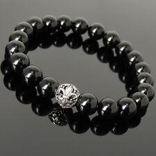 Yoga Stone Bracelet Black Onyx Floral French Fleur de Lis Sterling Silver 10mm
