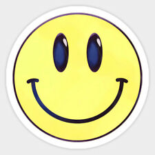 Yellow Happy Smile Smiley Face Vinyl Wall Car Bumper Bottle Decal Sticker