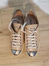 Miu Miu Blush Patent Leather Sneakers,size 41