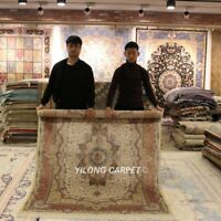Yilong 5'x7' Floral hand knotted Persian Rug Oriental Handmade Silk Carpet L25A