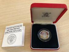 UK GB 1984 ROYAL MINT UK ONE POUND SILVER PROOF PIEDFORT w. BOX/COA - Thistle