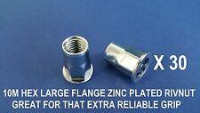 30 X HEX STEEL ZINC PLATED RIVNUTS M10 NUTSERT LARGE FLANGE NUTSERTS RIVNUT