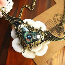 Women Heart Peacock Feather Rhinestone Angel Wing Chain Pendants Necklace Gifts