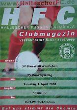 Programm 1999/00 HFC Hallescher FC - BW Wanzleben