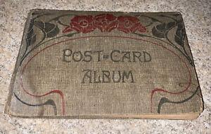 VINTAGE ANTIQUE HARDCOVER POST CARD ALBUM