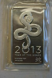 10 Ounce NTR Silver Bar Year of the Snake 2013 in Original Packaging
