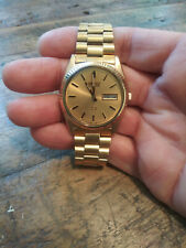 Vintage 1986 Seiko 6923-8080 President Gold Tone Day Date Men's Dress Watch Nice