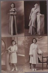 Philippine Vintage RPPC 4 different Woman model Photo Postcard  ( 4 card )