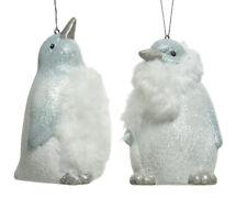 2 X Argent et Blanc Pingouin Sapin de Noël Décoration Tenture Boules de Noël