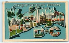 *Greetings from Washington DC Large Letter Blue Vintage Linen Postcard C40