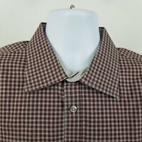 Hickey Freeman Burgundy/Red Gray Check Men's L/S Casual Button Shirt Sz 2XL XXL