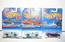 lot (3) Hot Wheels '58 Corvette, coupe #780 #341 teal, purple