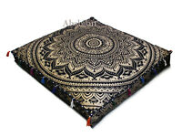 "New 35X35"" Golden Floral Mandala Indian Floor Pillow Cushion Cover Dog Bed Cover"